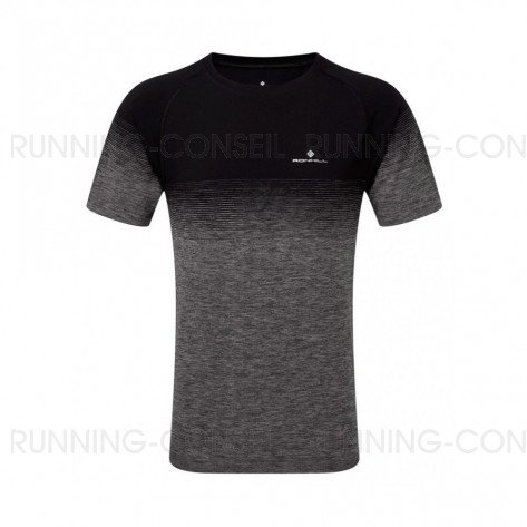 RONHILL Tee-Shirt manches courtes MARATHON INFINITY Homme | Black/Grey Marl | Collection Printemps-Été 2019