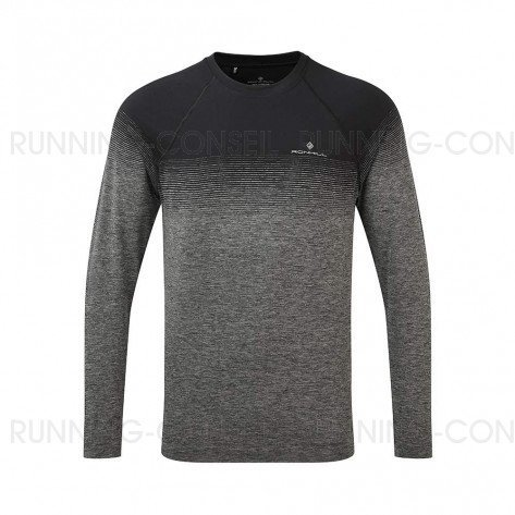 RONHILL Tee-shirt manches longues Infinity Marathon Homme| Black Grey marl