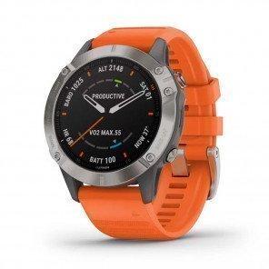 GARMIN fēnix 6 Titane avec bracelet orange