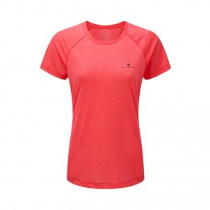RONHILL Tee-shirt manches courtes MOMENTUM Femme | Hot Pink Marl/Charcoal | Collection Printemps-Été 2019